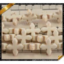 Perles croisées en turquoise synthétique blanche, bijoux synthétiques (GB0115)