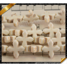 White Synthetic Turquoise Cross Beads, Synthetic Jewelry (GB0115)