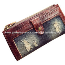 Trifold women jeans zippy coin purse