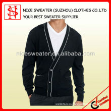 Hombres cuello en V mangas largas con bolsillos chaqueta de lana usada suéteres