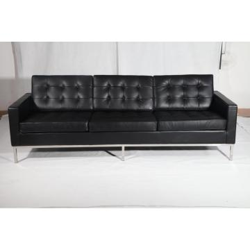 Black Leather Florence Knoll 3 plazas sofá réplica