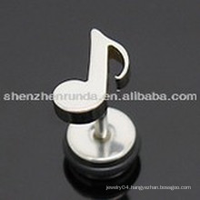 Stainless steel fashion for women&men&unisex music notes stud earrings jewellery
