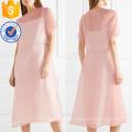 Venda quente rosa manga curta midi vestido de verão manufatura grosso moda feminina vestuário (t0324d)
