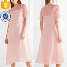 Heißer Verkauf Rosa Kurzarm Midi Sommerkleid Herstellung Großhandel Mode Frauen Bekleidung (TA0324D)