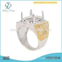Simple de acero inoxidable de plata y anillo de oro diseña los anillos indonesia para hombre, anillos de lujo