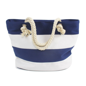 Attractive White Blue Stripes Canvas Beach Bags