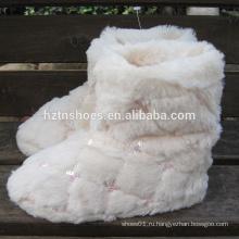 Дешевые сапоги блестки довольно домашний ботинок для женщин белый плюш теплый домашний ботинок