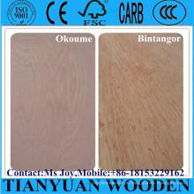 Okoume / Bintangor / Carvalho / teca / Birch Contraplacado comercial