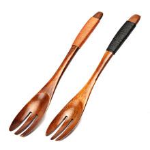 FQ marca de cocina personalizado largo mango bebé carne de madera fruta tenedor