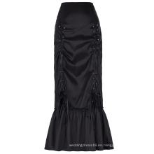 Estilo Vintage victoriano retro de la vendimia de las mujeres de Belle Poque T / T del tafetán negro largo acanalado de la falda BP000208-1
