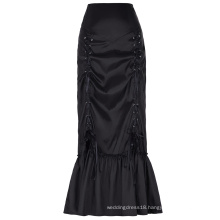 Belle Poque Women's Vintage Retro Gothic Victorian Style N/T taffeta Long Black Ruched Skirt BP000208-1