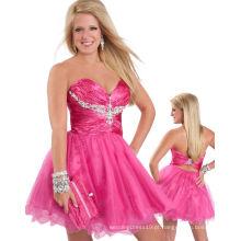 Fuchsia Sweetheart Strapless Vestido Shortant Cupcake Vestido com Rhinestones TP12-09S