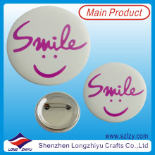 Custom round shape metal smiley pin metal badge clip with safety clip