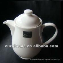 Белый фарфоровый кофе / чайный горшок для гостиницы и ресторана