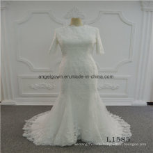 Middle Sleeve Mermaid Lace Latest Gown Design Wedding Dress
