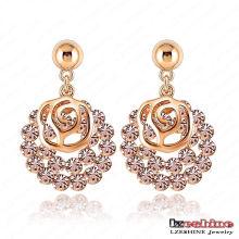 Ouro banhado oco rosa flor brinco moda (ER0029-C)