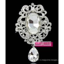 Модные большие стеклянные кристаллические броши