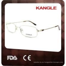 2017 nuevas lentes ópticas del metal de cuero clásico del hombre joven, marco óptico del metal