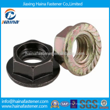 Black plated or color zinc plated serrated flange nut