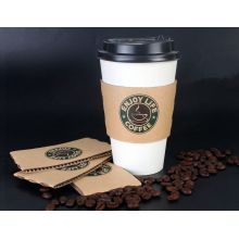 Recycled Paper Coffee Cups with Lids and Sleeve