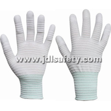 Carbon Fiber and Nylon Knitted Anti-Static ESD Work Glove, Finger Coated with White PU (PC8111)