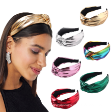Bandeau cheveux tali rambut Korean Autumn Winter PU Leather Headband Solid Knot Hairband for Women Girl Fashion Hair Accessories
