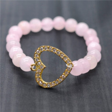 Rose Quartz 8MM Round Beads Stretch Gemstone Bracelet with Diamante alloy Heart Piece