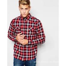 Großhandelsmann-Plaid-Karo-Hemd mit Knopf-unten Kragen