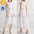 Asymmetric Embroidered Cotton Midi Dress Manufacture Wholesale Fashion Women Apparel (TA4090D)