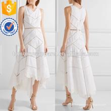Asymmetrische bestickte Baumwolle Midikleid Herstellung Großhandel Mode Frauen Bekleidung (TA4090D)