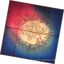 Lady Fashion Flower Printed Silk Square Scarf (HC1310)