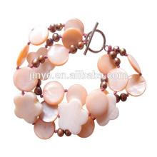 Pulsera bohemia con cuentas de perlas frescas de Sun Beach Shell