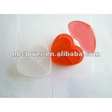 Caixa de pílula de plástico de forma de coração com impressão de logotipo