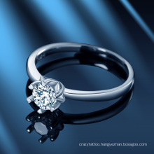 Love Six-Claw Moissanite Diamond Ring Korean Birthday Gift S925 Sterling Silver Women′ S Jewelry Resizable Free Size Ring