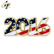 En gros 2016 métal or émail dur année patriotique épinglette