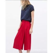 OEM otoño casual alta cintura floja mujer pantalones de gasa