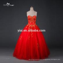 RQ077 Venda por atacado de vestidos de casamento 2015 Bordados de ouro Vestidos de casamento vermelho