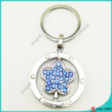 Porte-clés en métal bleu clair fleur en métal en gros (KR16041917)