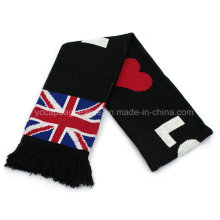 Promotional Cotton Football Fan Soccer Knitted Scarf