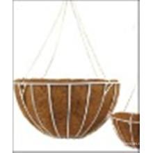 Кованая железная подвесная корзина с кокосовым лайнером и цепочкой