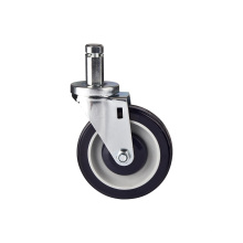 Grip Ring Round Stem Shopping Cart Caster