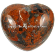 Puffy Heart shaped Poppy-Jasper stone 35MM