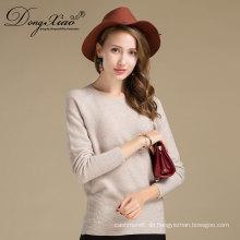 Plus Größe Rundhals Weiße Farbe Neueste Design Winter 100% Kaschmir Gestrickte Pullover Frauen