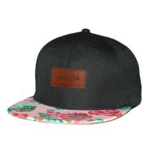 Impressão promocional personalizado 6 painel chapéu bebê snapback cap com logotipo de remendo de couro