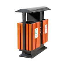 Cubo de basura exterior de acero inoxidable de madera (A6501)