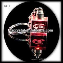 Chaveiro de cristal LED com imagem 3D gravado a laser dentro e em branco chaveiro de cristal G111
