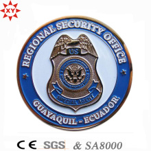 Moeda de liga de zinco livre do metal de Sampl 3D com logotipo da polícia do crachá