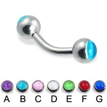 Straight Curved Barbell with Top Opal Balls