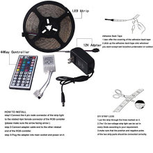 Kit de luces LED Strip 3528 Luz multicolor RGB no impermeable, Flexible 300 Leds con 44 Remote Remote Power Adapter