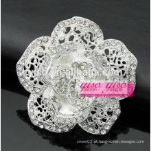 Broche rosa aberto com chapeamento de prata